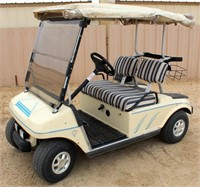 Lot # 5001 Club Car Golf Cart, (6) 8-volt batteries (replaced 9/28/19), has canopy/enclosure, runs good, SN: A9721574107.  Absentee bidding available on this item.  Click catalog tab for more information.