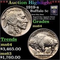 *Highlight* 1919-s Buffalo 5c Graded Choice Unc