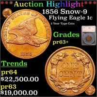 *Highlight* 1856 Snow-9 Flying Eagle 1c Graded pr6