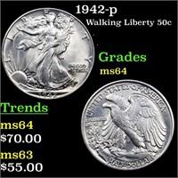 1942-p Walking Liberty 50c Grades Choice Unc