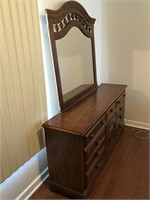 Maple Triple Dresser With Matching Mirror