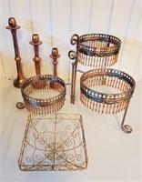 Decorative Copper Plate Stand & Candlesticks