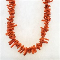"Vintage 17"" Red Branch Coral Necklace"