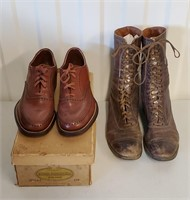 Antique Child's Oxford & Lady's High Lace Shoes