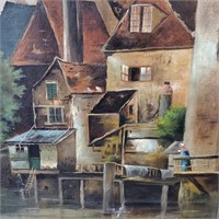1880s Unsigned Painting European Village By River