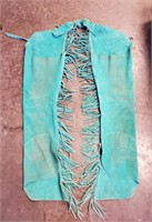 Vintage Turquoise Leather Cowgirl Chaps