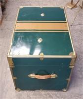 """28"""" Green Metal Storage Footlocker Trunk"""