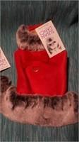 """Fancy red ultrasuede coat w/ faux trim XXS S=8"""" Re"""
