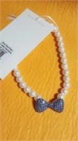9 Wt pearl elastic necklaces blue bow S/M/L.