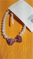 12 Wt pearl elastic necklaces pink bow S/M/L