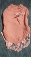 """Peach lace sweater size Lg, M=10""""  Reg $25"""
