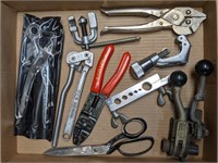 Flat of Various Tools. Wire Strippers, Banding