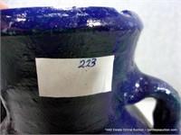 RUSTIC EGYPTIAN BLUE GLAZED TERRA COTTA OLIVE JAR