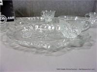 LOT (4): FLORAL / FRUIT PATTERN PRESSED GLASS SNAC