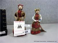 LOT (2): RUSSIAN WOMEN COTTON THATCH DOLL FIGURINE