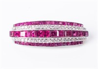 Jewelry Platinum / 18kt Gold Ruby & Diamond Brooch
