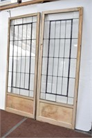Pair of Large Leaded Stained Glass Window Panels
