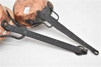 (2) Hammered Copper Bottom Hand Wrought Skillets