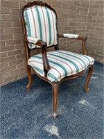 Ethan Allen Striped Upholstered Open Arm Chair