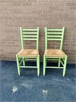 Pr Rush Seat Ladder Back Chairs