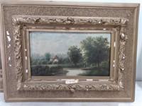 (2) Oil on Board Cottage Scene Image 6.5x11.5