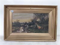 Oil on Canvas Wooded Scene Signed