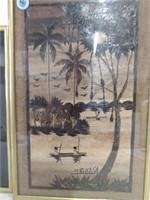(2) Wood Mosaic Art Framed