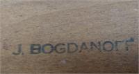 Rattan Bamboo J. Bogdanoff 1/2 Round Coffee Table