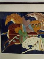 """Framed Art Tiles of Horses Image 17.5""""x11.5"""""""