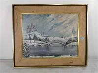 Oil on Board, Winter Scene, Signed