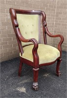 Mahogany Framed Uph Open Arm Chair