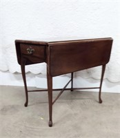 Mahogany QA Style End Stand w/Drop Leaves & Drawer
