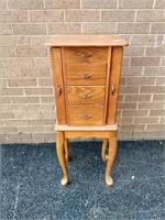 """Oak Jewelry Cabinet 35""""Hx13.5""""Wx10""""D"""