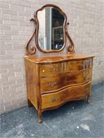 "Dresser w/Mirror, heavily shellaced 35""Hx42""Wx22""D"