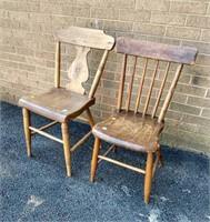 (2) Plank Bottom Chairs
