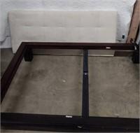 Rosewood Platform Queen Bed w/suede headboard