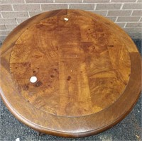 B/C Foot Round Table w/Burled wood top