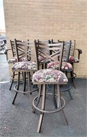(6) Metal Framed Bar Stools & Table with