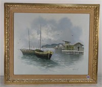 "Oil on Canvas, Harbor Scene Image 19""x23"""
