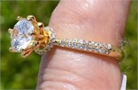 18K Gold Overlay Sterling Silver Cubic Zircon Ring