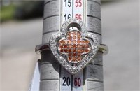 Sterling Silver Cubic Zircon  & Red Stones Ring