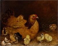 """Ben Austrian (Berks Co., PA, 1870-1921) oil on canvas barnyard scene of hen and chicks, signed and dated, 15 3/4"""" x 19 3/4"""" sight"""