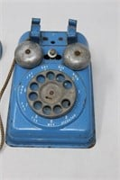 Blue Metal Dial-O Toy Telephone-Steel Stamp'ng Co.