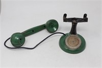 Old Vintage Metal & Wood Toy Telephone