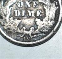 1876 CC Seated Liberty Dime VG