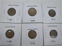 1927, 28, 39, 42, 48 & 1950 Wheat Pennies