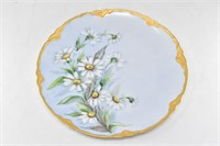 Signed Hand Painted Daisy Plate w/ Gold Trim-1964