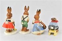 (4) Goebel West Germany Bavarian Bunny Rabbits