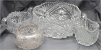 """(4) Cut Glass Dishes: Cream & Sugar Bowls, 8"""" Bowl"""