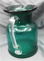 "Gorgeous China ""Hand Blown"" Emerald Green Pitcher"